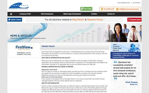 Screenshot of Privacy Page openwavecomp.com - Company Privacy Policy - Openwavecomp.com - captured Oct. 26, 2014