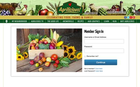 Screenshot of Login Page agrilicious.org - Member Login | Sign In To Your Account | Agrilicious! - captured Oct. 31, 2014