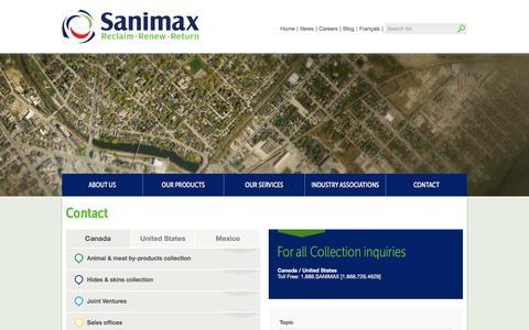 Screenshot of Contact Page sanimax.com - Contact - - captured July 25, 2018