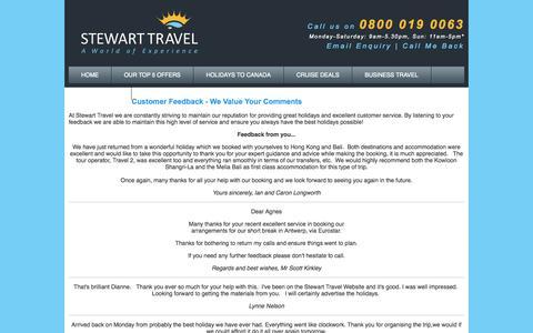 Screenshot of Testimonials Page stewarttravel.co.uk - Client Testimonials - captured Oct. 7, 2014