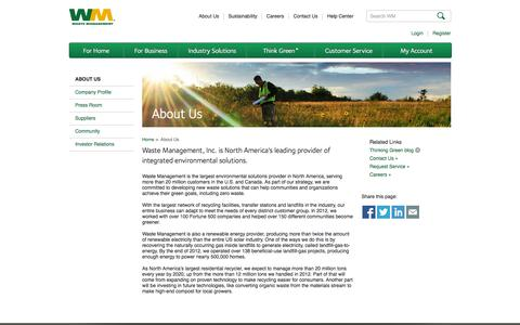 Screenshot of About Page wm.com - About Waste Management, Practices, Ethics, Leadership and History - captured Sept. 18, 2014