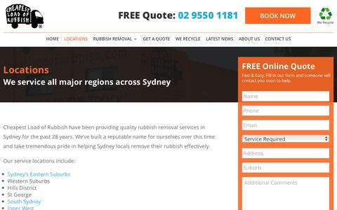 Screenshot of Locations Page cheapestloadofrubbish.com.au - Rubbish Removal Serviced Locations - Cheapest Load of Rubbish - captured May 16, 2017