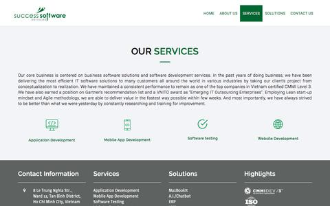 Screenshot of Services Page success-ss.com - Our Services | Success Software Services - captured July 5, 2018