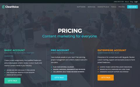 Screenshot of Pricing Page clearvoice.com - Pricing - ClearVoice - captured July 31, 2016