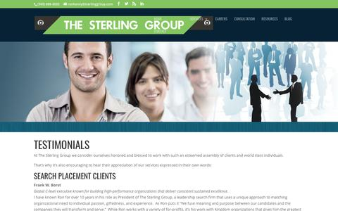 Screenshot of Testimonials Page sterlinggroup.com - Testimonials | Sterling Group - captured Nov. 17, 2017