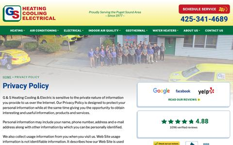 Screenshot of Privacy Page gsheating.com - Privacy Policy   G & S Heating Cooling & Electric - captured Oct. 11, 2018
