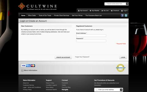Screenshot of Login Page cultwine.com - Customer Login - captured Sept. 30, 2014