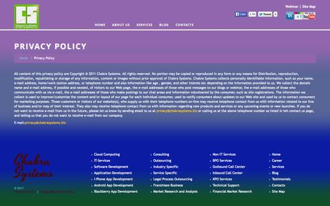 Screenshot of Privacy Page chakrasystems.biz - Privacy Policy | Chakra Systems - captured Oct. 2, 2014