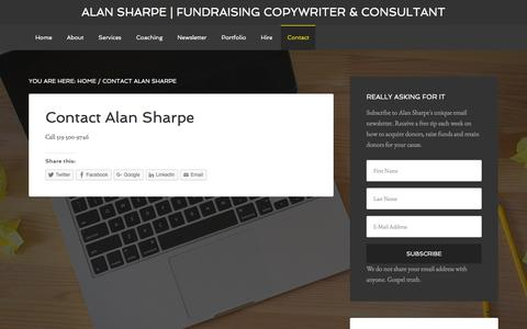 Screenshot of Contact Page raisersharpe.com - Contact Alan Sharpe - captured Feb. 5, 2016