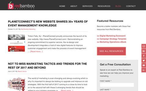 Screenshot of Blog redbamboomarketing.com - Content Marketing & Strategy Blog | Red Bamboo Marketing - captured Nov. 21, 2017