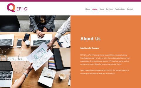 Screenshot of About Page epi-q.com - About | EPI-Q, Inc. - captured Nov. 9, 2018