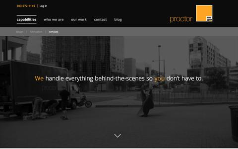Screenshot of Services Page proctorproductions.com - Services | Proctor Productions - captured July 23, 2018