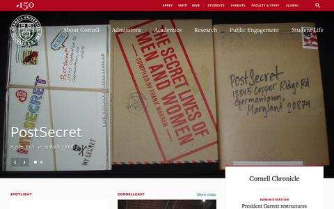 Screenshot of Home Page cornell.edu - Cornell University - captured Oct. 14, 2015