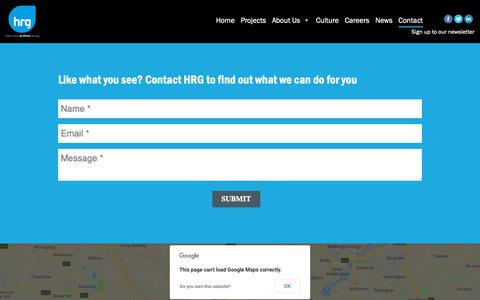 Screenshot of Contact Page hrg.co.uk - Contact Us - captured Nov. 9, 2018