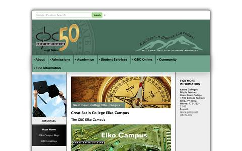 Screenshot of Maps & Directions Page gbcnv.edu - Great Basin College: Maps - Home - captured July 31, 2017