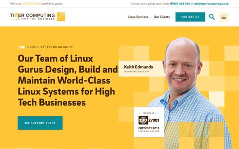 Screenshot of Home Page tiger-computing.co.uk - Linux Support for Business | Tiger Computing - captured Nov. 3, 2017