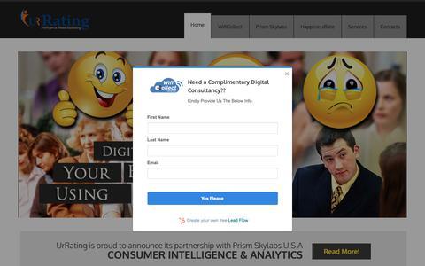 Screenshot of Home Page urrating.com - Consumer Intelligence & Digital Marketing Agency: UrRating - captured Oct. 19, 2018