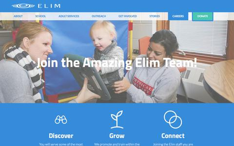 Screenshot of Jobs Page elimcs.org - Careers : Elim Christian Services - captured July 29, 2017