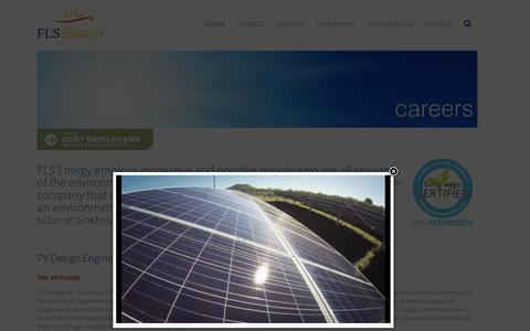 Screenshot of Jobs Page flsenergy.com - Employment Opportunities with Asheville and North Carolina's Leading Solar Energy Company | FLS Energy - captured Dec. 22, 2015