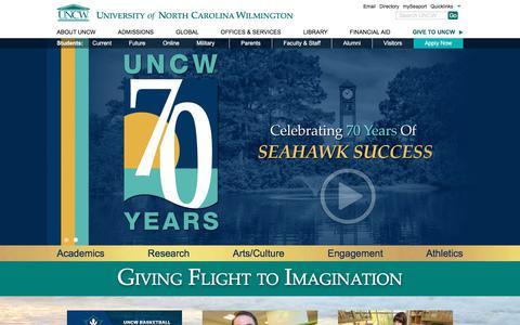 Screenshot of Home Page uncw.edu - University of North Carolina Wilmington - captured Sept. 19, 2017