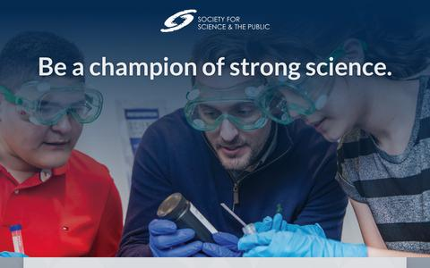 Screenshot of Landing Page societyforscience.org - Be a champion of strong science · Join the Society for Science & the Public - captured March 27, 2018