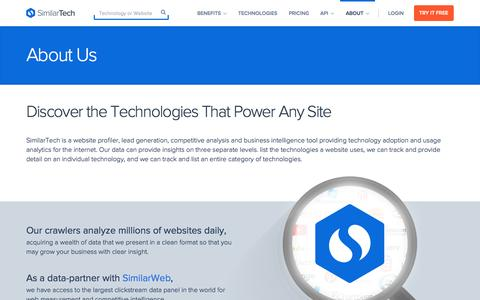 Screenshot of About Page similartech.com - About SimilarTech - captured Oct. 27, 2015
