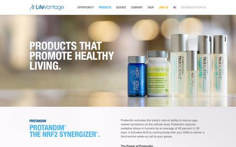 Screenshot of Products Page lifevantage.com - Products | LifeVantage - captured Sept. 16, 2014