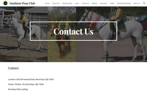 Screenshot of Contact Page google.com - Nambour Pony Club - Contact Us - captured July 1, 2018