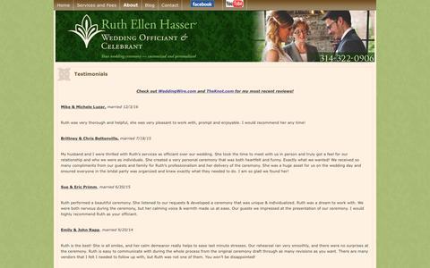 Screenshot of Testimonials Page ruthellenhasser.com - St Louis Wedding Officiant Testimonials about Ruth Hasser | Ruth Ellen Hasser - captured Oct. 24, 2017