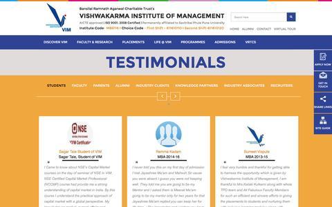 Screenshot of Testimonials Page vim.ac.in - Testimonials - captured Nov. 30, 2016