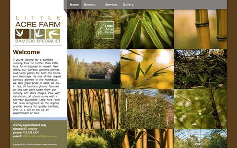Screenshot of Home Page littleacrefarm.com - Little Acre Farm - New Jersey Bamboo Wholesale and Retail - captured June 19, 2016