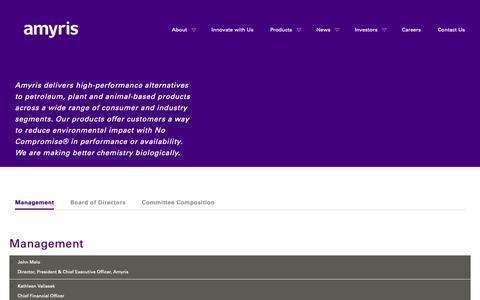 Screenshot of Team Page amyris.com - Management | Amyris - captured Oct. 3, 2018