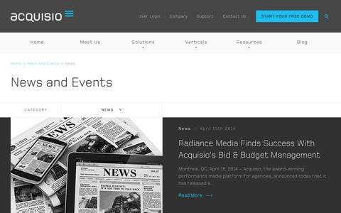 Screenshot of Press Page acquisio.com - News and Events | Acquisio - captured Sept. 10, 2014