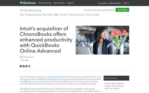 Screenshot of Press Page intuit.com - Intuit's acquisition of ChronoBooks offers enhanced productivity with QuickBooks Online Advanced - QuickBooks - captured Nov. 21, 2019