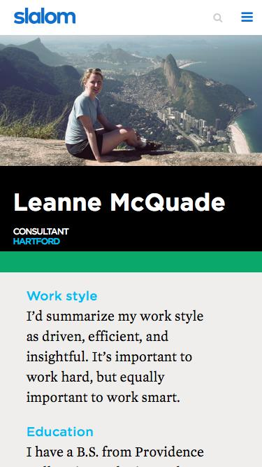 Screenshot of Team Page  slalom.com - Leanne McQuade | Slalom