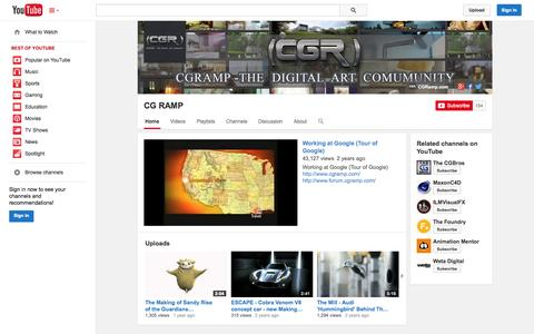 Screenshot of YouTube Page youtube.com - CG RAMP  - YouTube - captured Oct. 22, 2014