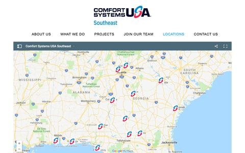 Screenshot of Locations Page csusasoutheast.com - Locations - Comfort Systems USA SE - captured July 13, 2019