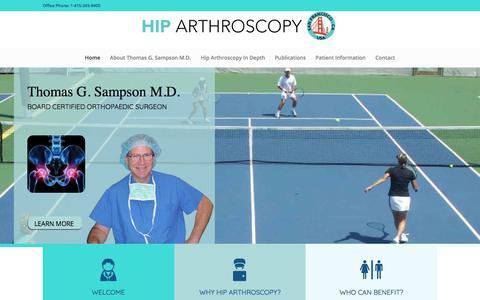 Screenshot of Home Page hiparthroscopy.net - Hip Arthroscopy by Thomas G. Sampson, M.D. – Board Certified Orthopaedic Surgeon - captured Dec. 21, 2017