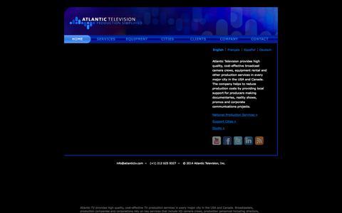 Screenshot of Home Page atlantictv.com - TV Production : ATLANTIC TELEVISION: National HD Camera Crews and Camera Rental - captured Oct. 4, 2014
