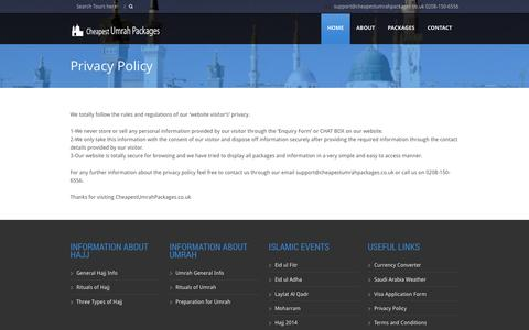 Screenshot of Privacy Page cheapestumrahpackages.co.uk - Privacy Policy - captured Nov. 4, 2014