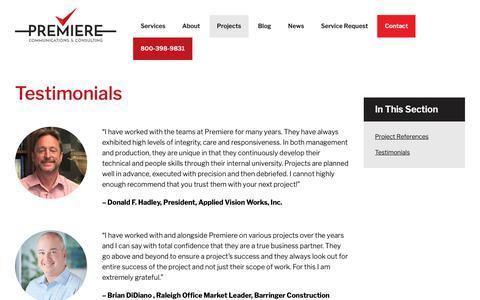 Screenshot of Testimonials Page premiere-inc.com - Testimonials | Premiere Communications & Consulting - captured Nov. 11, 2018