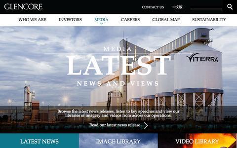 Screenshot of Press Page glencore.com - Media       | Glencore - captured Sept. 19, 2014