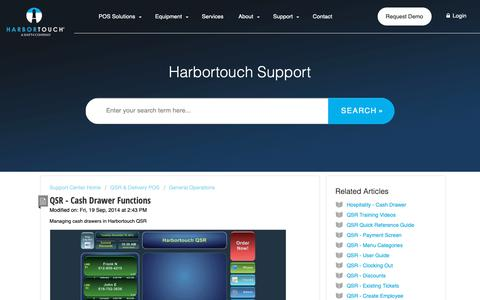 Screenshot of Support Page harbortouch.com - QSR - Cash Drawer Functions : Harbortouch Support Center - captured Oct. 9, 2018