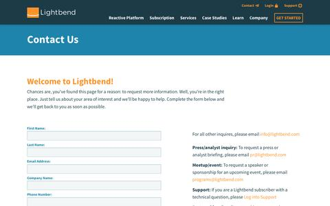 Screenshot of Contact Page lightbend.com - Contact Us | @lightbend - captured Feb. 10, 2017