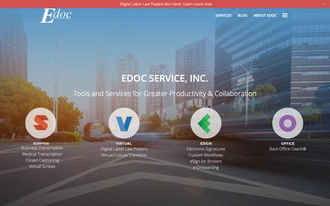 Screenshot of Home Page edocscribe.com - Services for greater productivity: eSign, Office, Scribe, Virtual - captured Nov. 4, 2018