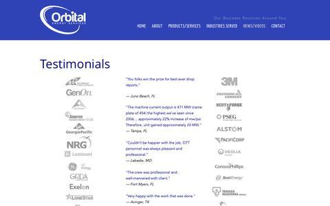 Screenshot of Testimonials Page orbitalenergyservices.com - Orbital Energy Services  Orbital Energy Services Testimonials - captured Nov. 4, 2014