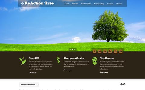 Screenshot of Home Page reactiontree.com - Reaction Tree Service | West Bloomfield, Michigan - captured Oct. 9, 2014