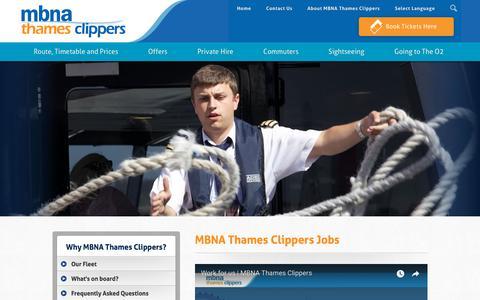 Screenshot of Jobs Page thamesclippers.com - Thames Clippers Jobs & Careers   MBNA Thames Clippers - captured Sept. 20, 2018