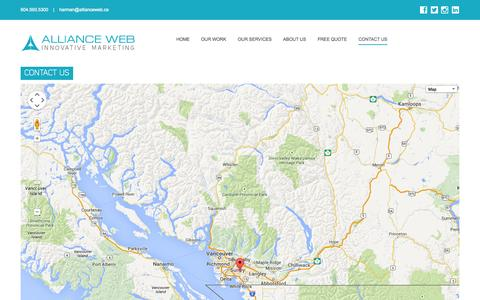 Screenshot of Contact Page allianceweb.ca - Contact Us - captured Nov. 2, 2014