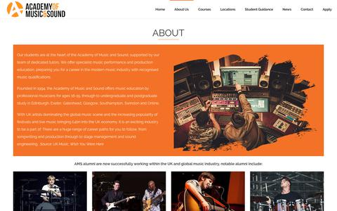 Screenshot of About Page academyofmusic.ac.uk - Music Qualifications at the Academy of Music and Sound - captured Oct. 2, 2018